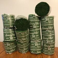 Vtg Lot 13 Skeins Dark Green Spinning Wheel Latch Hook Rug Yarn