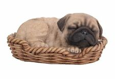 Pug Puppy Dog Sleeping in Basket Sweet Dreams Figurine Statue Pet Pal Collection