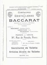 Baccarat Catalogue de la cristallerie 1916 Articles de Toilette en PDF