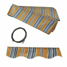 ALEKO Fabric Replacement 10 X 8 ft for Retractable Awning Multi-striped Yellow
