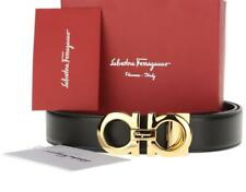 NEW SALVATORE FERRAGAMO BLACK HICKORY LEATHER GOLD GANCINI BUCKLE BELT