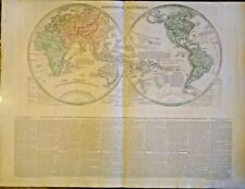 GENUINE FRAMEABLE WORLD HEMISPHERE MAP IN FRENCH 1820 VERY RARE