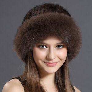 Knitted Real Mink Fur Hat Cap Stretch Fox Fur Trim Fashion bowler Top Pot Hat
