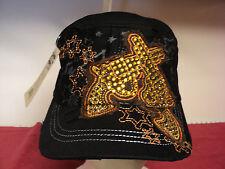 "Leader"" Pistols"" style Womens cap  new worn look   Black adjustable"