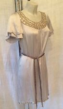 Monsoon Size 8 Silver & Grey Silk Embellished Dress With Belt