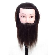 Male Hair Mannequin Head 100% Human Hair With Beard Cosmetology Training Head