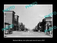 OLD LARGE HISTORIC PHOTO OF MACLEOD ALBERTA CANADA, THE MAIN St & STORES c1935