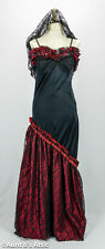 Spanish Senorita Dress Black & Red Stretch Knit & Lace 2Pc Costume Sm/Med