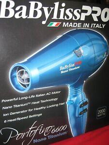 BaByliss Pro Portifino 6600 Nano Titanium Hair Dryer   2000 Watts  New