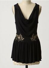 Anthropologie Glistening Juniper Top Ric Rac Size Small Lots Of Stretch Black