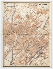 1911 ANTIQUE MAP OF CITY OF MUELHAUSEN MULHOUSE ALSACE FRANCE GERMANY