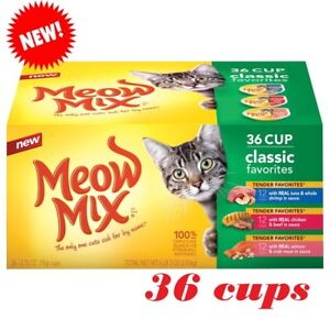 Meow Mix Tender Favorites Seafood and Beef Variety Pack 36 cups Cat Food 2.75oz