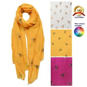 Viscose Boutique Gold Foil Busy Bee Print Design woman girl Scarf all Seasons