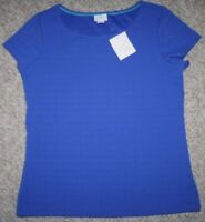 New Medium Jaclyn Smith Blue Tee T-Shirt Short Sleeve Crewneck Solid Top Women's