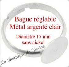 LOT 10 BAGUES ENFANT REGLABLES METAL ARGENTE CLAIR PLATEAU FIMO - BIJOUX PERLES