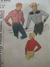 Vintage 50's Simplicity 4703 FRONT & BACK YOKE WESTERN SHIRT Sewing Pattern Mens