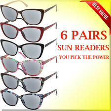 Reading Glasses Sun Readers Spring Hinge 6 Pair Lot Cat Eye Style New Glasses