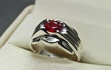 Natural Burma Yakoot Sterling Silver 925 Handmade Pigeon Red Ruby Women Ring
