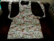 Handmade Kitchen Apron Adult size Christmas Deer and Holly Lined 100% Cotton