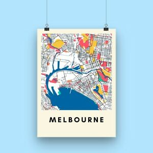 Melbourne City Map Print - Multicolored Map Poster A3 size