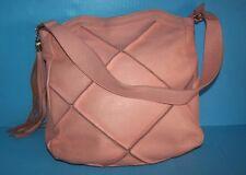 Nyla Noor Pink Peach Large Patchwork Pebbled Leather Hobo Purse Bag Tassel NICE