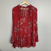 FREE PEOPLE   burgundy floral tunic dress womens M medium boho casual red