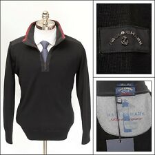 Mens PAUL & SHARK Yachting Bretagne Black Striped Wool 1/4 Zip Sweater M NWT