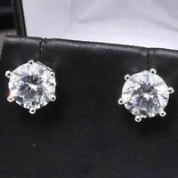 2 Ct Round Cubic Zirconia Solitaire Stud Earring Women Jewelry 14K Gold Plated