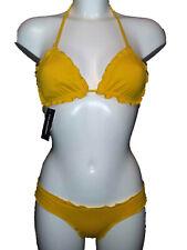 Yellow Triangle Cup Halterneck Bikini Set 32A & XS Extra Small Bottoms Swimwear