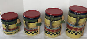 Alco Industries Set Of Four Canisters W/Wooden Spoons Cranbury -Southwest Design