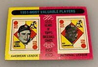 1975 Topps Mini Baseball Card # 189 1951 Yogi Berra Roy Campanella MVPs HOF