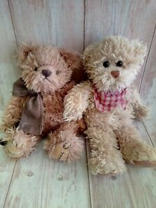"Lot of Two Vintage Barbara Bukowski Plush Teddy Bears 10"""