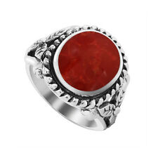925 Sterling Silver Oval Red Coral with Rope Design 3mm Ring Size 4.5 - 7.5