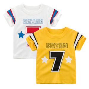 Girl T-Shirt Yellow Kid Top White Boy Tee Collarless Short Sleeve Shirt Cotton ^