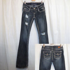Almost Famous Distressed Boot Cut Jeans Women's Juniors 1 Blue Flap Pockets