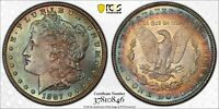 1887-P USA MORGAN SILVER DOLLAR PCGS MS63 TONED BU UNC COLOR BEAUTIFUL (DR)
