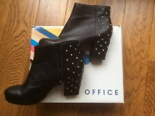 Office. Black leather boots with silver studs. Block heels. Side zip. Size 39