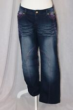 DEREON Blue Denim Cotton Stretch Blend Pink Embellished Jeans Pants Size 11 / 12