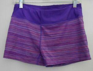 Women's Under Armour Purple Stripe Fitted Heat Gear Shorty Shorts Sz M  1247578