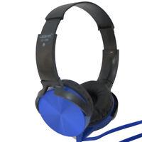 Cuffie stereo Extra Bass BLU archetto regolabile+microfono per smartphone VJ6K