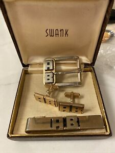 Vintage *SWANK* Cuff Links & Tie Clip & Matching Belt Buckle AB Initials Gold
