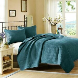 Luxury 3pc Peacock Blue Velvet Touch Quilted Coverlet AND Decorative Shams