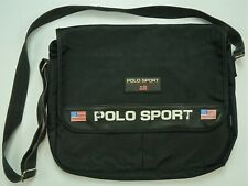 Rare VTG POLO SPORT Ralph Lauren USA Flag Patch Spell Out Shoulder Bag 90s Black