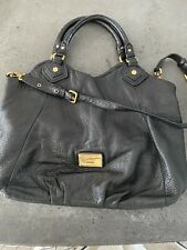 MARC BY MARC JACOBS Classic Q FRANCESCA Black Leather Shoulder Tote Purse Bag