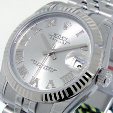 UNWORN ROLEX DATEJUST 178274 31 mm RHODIUM ROMAN DIAL STEEL WHITE GOLD JUBILEE