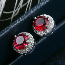 2.10 Ct Round Cut Red Ruby Attractive Halo Stud Earrings 14k White Gold Over