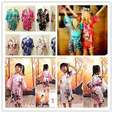 Girls Wedding Flower children Kimono robe nightwear dress satin gown Peacock