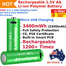 1 x Rechargeable Lithium Li-ion 3400mWh 1.5V AA Battery 1200+ Recharge Cycles