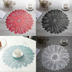 Non Slip PVC Placemats Round Sunflower Lace Dining Table mat Insulated Pad 15.4""