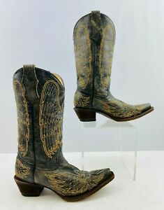 Girls Corral Black/ Gold Leather Snip Toe Western Cowgirl Boots Size: 3 T